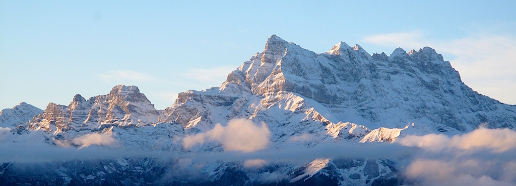 The Dents du Midi as viewed from Leysin (with telephoto).